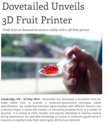 【解説】3Dプリンタでフルーツを作る方法、の記事について